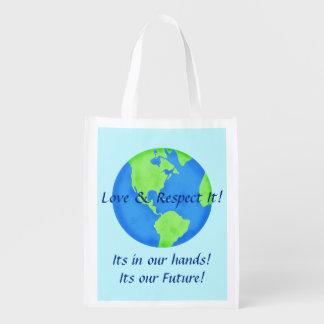 Liebe-Respekt-Erdkugel sein unser Zukunft-Blau Wiederverwendbare Einkaufstasche