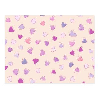 Liebe, Romance, Herzen - blaues lila Rosa Postkarte
