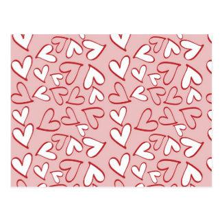 Liebe, Romance, Herzen - rotes rosa Weiß Postkarte