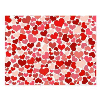 Liebe, Romance, Herzen - rotes Weiß Postkarte