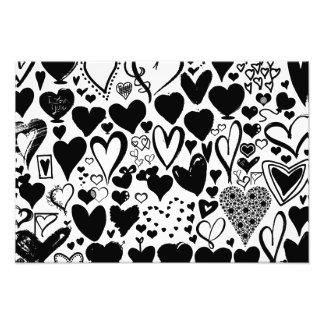 Liebe, Romance, Herzen - Schwarz-weiß Fotodruck