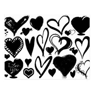 Liebe, Romance, Herzen - Schwarz-weiß Postkarte