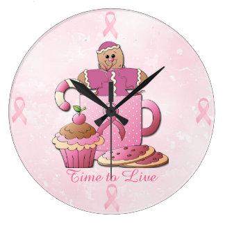 Liebe-rosa Runde (groß) Große Wanduhr