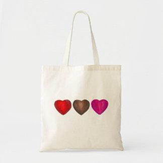 Liebe-Rosa Schokoladen-Herz-Herzenvalentines Tages Tragetasche