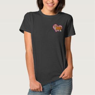 Liebe-roter Wolljacken-WaliserCorgi Besticktes T-Shirt