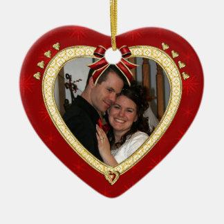 Liebe-rotes Herz-personalisierte Foto-Verzierung Keramik Ornament