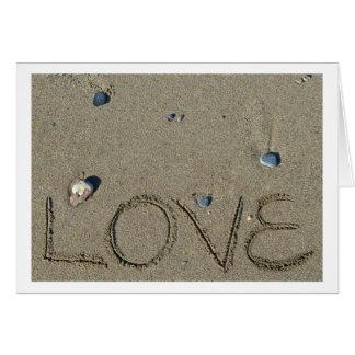 Liebe-Sand-Schreibens-Strand-Karte Karte