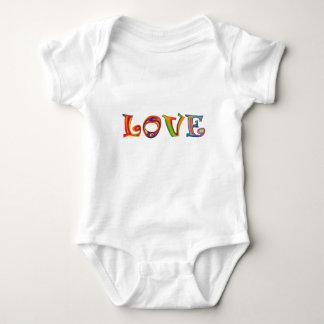 Liebe-schablonierter Mehrfarbenslogan Babygrow T Shirts
