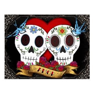 Liebe-Schädel-Tag der toten Postkarte
