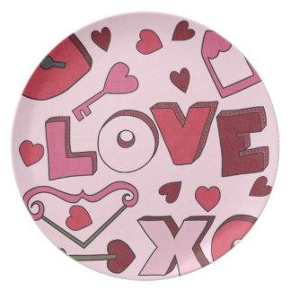 Liebe-Schlüssel zu meinen Herz-Mädchen scherzt Pla Flacher Teller