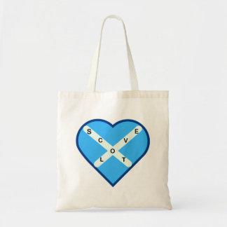 Liebe-Schottland-Himmel-Blau u. Weiß QuerSaltire Tragetasche