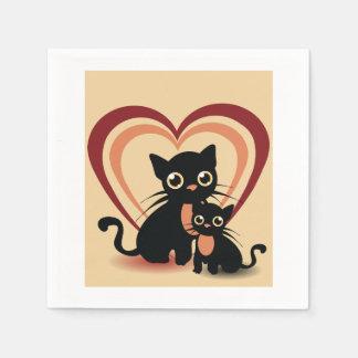 Liebe-schwarze Katzen-Papierservietten Serviette