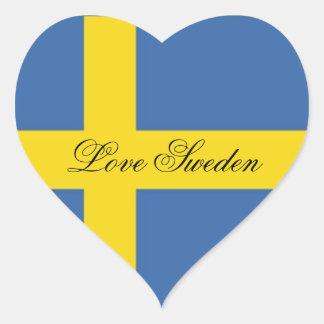 Liebe-Schweden-Schwedische Flagge Herz Aufkleber