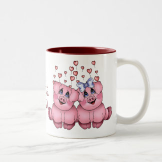 Liebe-Schwein-Tasse Zweifarbige Tasse