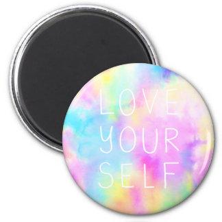 Liebe sich im Pastellregenbogen Runder Magnet 5,7 Cm