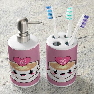 Liebe Sie ein Latte EMoji Seifenspender & Zahnbürstenhalter