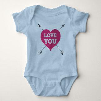 Liebe Sie Herz-u. Pfeil-Blau-Bodysuit Baby Strampler