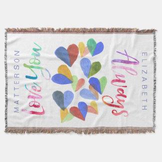 Liebe Sie immer Watercolor-handgemalte Herzen Decke
