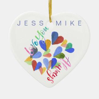 Liebe Sie immer Watercolor-handgemalte Herzen Keramik Ornament