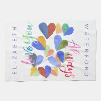 Liebe Sie immer Watercolor-handgemalte Herzen Küchentuch