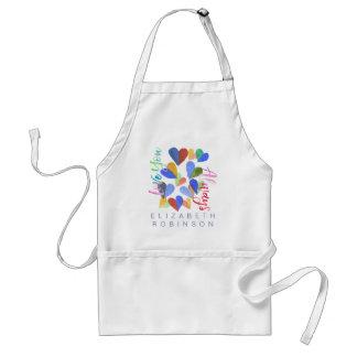 Liebe Sie immer Watercolor-handgemalte Herzen Schürze