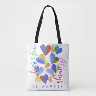 Liebe Sie immer Watercolor-handgemalte Herzen Tasche