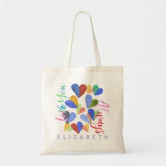 Liebe Sie immer Watercolor-handgemalte Herzen Tragetasche