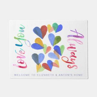 Liebe Sie immer Watercolor-handgemalte Herzen Türmatte