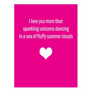 Liebe Sie mehr als Unicorns Postkarte