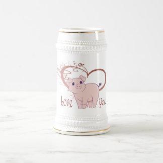Liebe Sie, niedliches Schwein und Strudel-Herz Bierglas