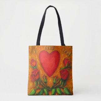 Liebe Sie rotes Herz u. Rosen Tasche
