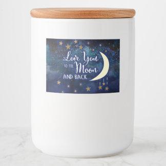 Liebe Sie zum Mond und zu den hinteren Aufklebern Lebensmitteletikett