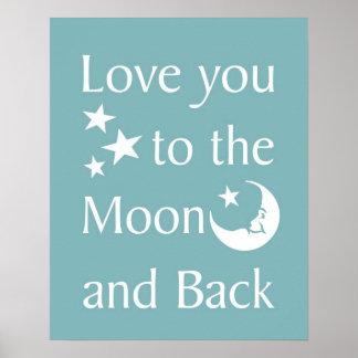 Liebe Sie zum Mond und zum hinteren Plakat