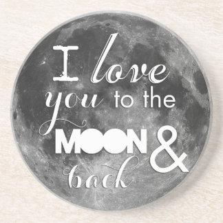 Liebe Sie zum Mond und zur Rückseite Sandstein Untersetzer