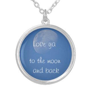 Liebe Sie zum Mond und zur Rückseite Versilberte Kette