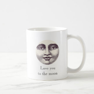 Liebe Sie zum Mond-Vintagen Mann im Mond Kaffeetasse