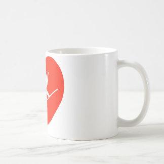 Liebe-Ski fahrendes rotes Herz Kaffeetasse