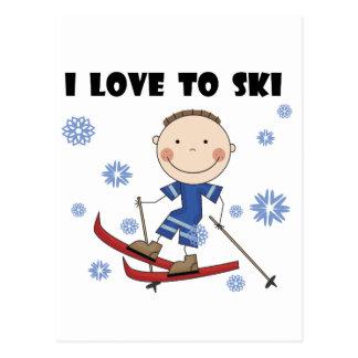 Liebe Ski zu fahren - Jungen-T-Shirts und Geschenk Postkarte