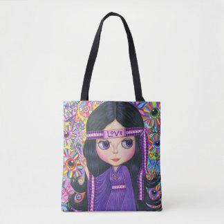 Liebe-Stirnbandhippie-Mädchen-Friedenszeichen Tasche