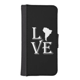Liebe-Südamerika-Kontinentkarte iPhone SE/5/5s Geldbeutel Hülle