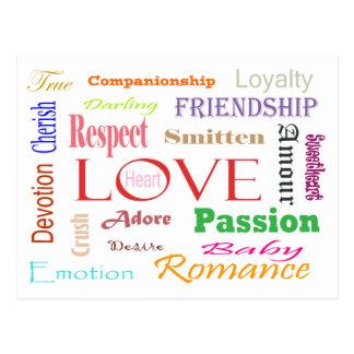 Liebe-Synonyme Postkarte
