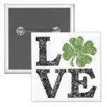 LIEBE Tag St. Patricks mit irischem Kleeblatt Buttons