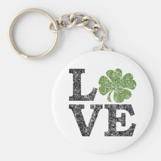 LIEBE Tag St. Patricks mit Kleeblatt Schlüsselanhänger