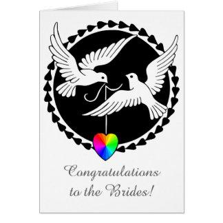 Liebe-Tauben-lesbische Hochzeits-Stolz-Herz-Karte Grußkarte