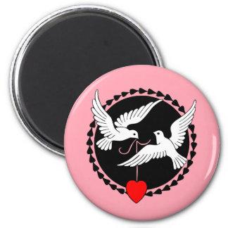 Liebe-Tauben Runder Magnet 5,1 Cm