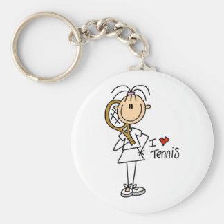 Liebe-Tennis des Mädchen-I Standard Runder Schlüsselanhänger