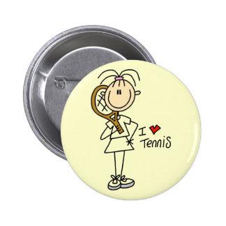 Liebe-Tennis-T-Shirts und Geschenke des Mädchen-I Runder Button 5,1 Cm