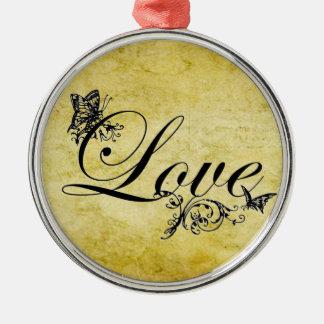 Liebe-Text mit Schmetterlings-kundenspezifischer Silbernes Ornament