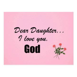 Liebe Tochter i-Liebe Sie Gott Postkarte