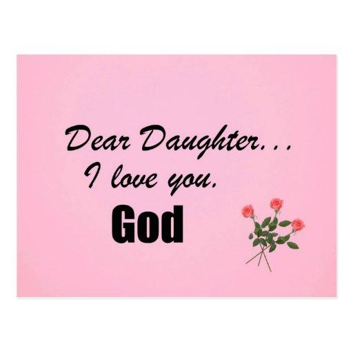 Liebe Tochter, i-Liebe Sie. Gott Postkarte
